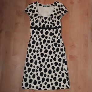 Boden Cream and Black Spotted Dress